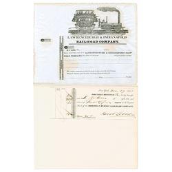 Mohawk & Hudson Railroad Co. & Lawrenceburgh and Indianapolis Rail-Road Co. Stock Certificates ca. 1