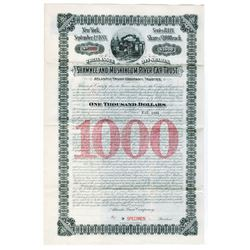 Shawnee and Muskingum River Car Trust 1888 Specimen Bond