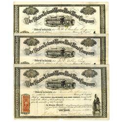 Staten Island Horse Railroad Co., 1867 Issued Stock Certificate Trio.