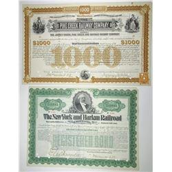 Pair of Railroad Cancelled Bonds Signed by William K. Vanderbilt