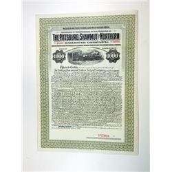 Pittsburg, Shawmut & Northern Railroad Co., 1917 Specimen Bond