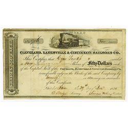 Cleveland, Zanesville & Cincinnati Railroad Co., 1855 Issued Stock Certificate.