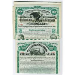 Ohio Railway Specimen Bond Pairing, 1884 and 1890.