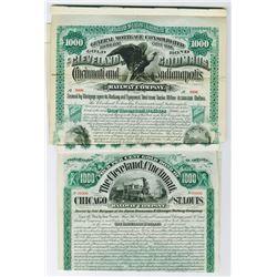 Ohio Railway Specimen Bond Pairing, 1884 and 1890.