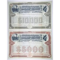 Cleveland, Cincinnati, Chicago & St. Louis Railway Co.  1890 Specimen Bond Pair