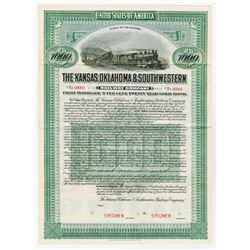 Kansas, Oklahoma & Southwestern Railway Co., 1912 Specimen Bond