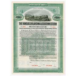 Kansas, Oklahoma & Southwestern Railway Co., 1912 Specimen Bond