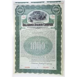Oklahoma Railway Co., 1907 Specimen Bond