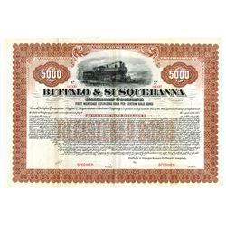Buffalo & Susquehanna Railroad Co., ca.1900-1910 Specimen Bond