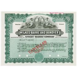 Wilkes-Barre and Hanover Street Railway Co., 1920-1930 Specimen Stock Certificate