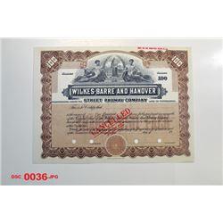 Wilkes-Barre and Hanover Street Railway Co., ca.1910-1930 Specimen Stock Certificate