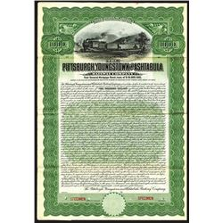 Pittsburgh, Youngstown and Ashtabula Railway Co., 1908, $1000 Specimen Bond.