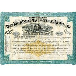 Bear River Valley Manufacturing Mining and Railroad Co., 1874 Coupon Bond.