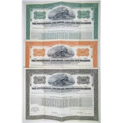 Cleveland, Cincinnati, Chicago & St. Louis Railroad Co., 1920 Specimen Bond Trio.
