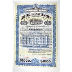 Electric Railway Company of Springfield, 1897 Specimen Bond.
