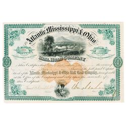 Atlantic, Mississippi & Ohio Rail Road Co., 1872 Issued Stock Certificate Signed by William Mahone.