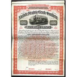 Norfolk, Virginia Beach and Southern Railroad Co., 1898 Specimen bond.
