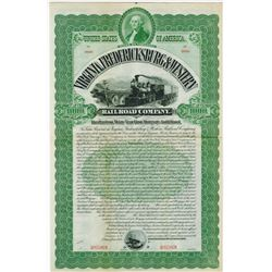 Virginia, Fredericksburg & Western Railroad Co., 1895 Specimen Bond