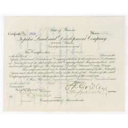 Topeka Land and Development Co., 1888 Issued Stock Certificate