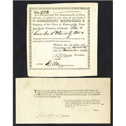Pennsylvania, 1819-1822, Pair of Issued Turnpike Stock Certificates