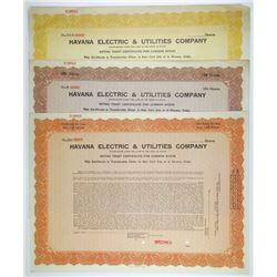 Havana Electric & Utilities Co., ca.1930-1940 Trio of Specimen Stock Certificates