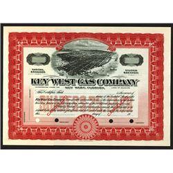 Key West Gas Co., ND (1900-1920) Specimen Stock Certificate.
