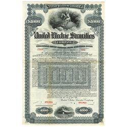 United Electric Securities Co., 1926 Specimen Bond