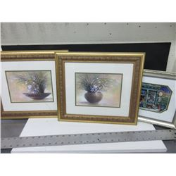 "3 Pictures / 2 15 x 13 & 1 12 x 10"" / NOTE: 1 gold framed one glass is cracked"