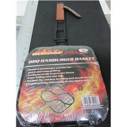 New BBQ Hamburger Basket / perfect for camping or backyard / easily flip