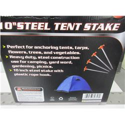 "6 New Steel Tent Stakes 1/4"" thick x 10 inches / good for Hard ground/rocks"