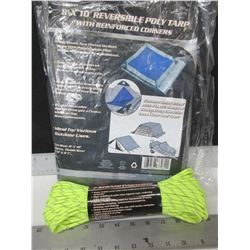 New 8ft x 10ft Poly Tarp with 100ft Paracord 7 strand 550lb / excellent for tents