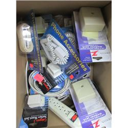Box full of Assorted Phone Accessories cords , jacks , cables etc.