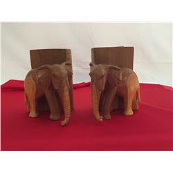 2 Wooden Elephant Bookends
