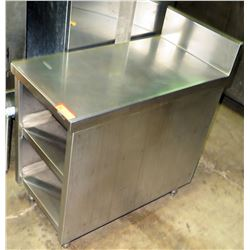 "Stainless Spacer Table w/ 2 Undershellves 18""W x 36""D x 37"" Back Height"