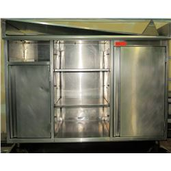 """Stainless 2-Door Cabinet w/Middle Shelving w/Wheels 52""""W x 24""""D x 44"""""""