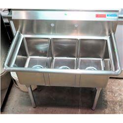 BK Resources Stainless Steel 3-Basin Sink, Model BKS-3-1014-10