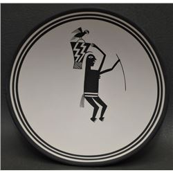 CONTEMPORARY REPRODUCTION OF ANCIENT MIMBRES BLACK ON WHITE BOWL,