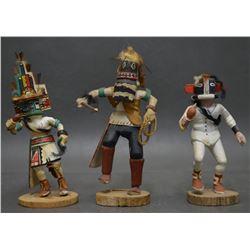 THREE HOPI INDIAN KACHINAS