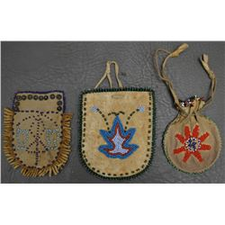 THREE PLAINS INDIAN BEADED BAGS