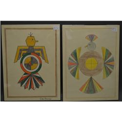 TWO NAVAJO INDIAN DRAWINGS