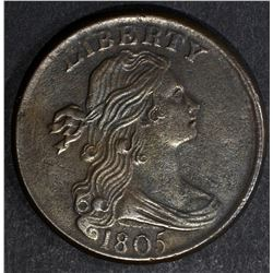 1805 DRAPED BUST LARGE CENT, CH BU mild porosity