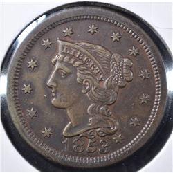 1853 LARGE CENT, BU