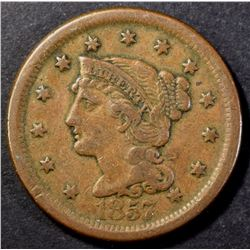 1857 LARGE CENT XF KEY DATE