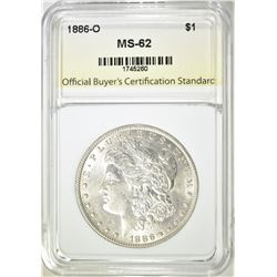 1886-O MORGAN DOLLAR, OBCS BU+
