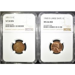 2 NGC LINCOLN CENTS:  1911-S VF-30 BN &
