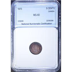 1870 SILVER 5 CENT CANADA  NNC CH BU