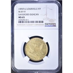 1850-S SANDFORD DUNCAN LOUISVILLE, KY NGC MS-65