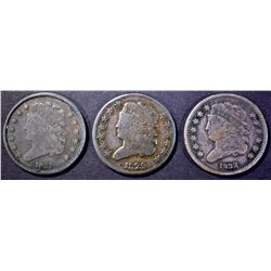 1829 VG, 1832 & 1835 VF HALF CENTS