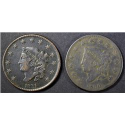 1830 LG LETTERS N-8 & 1831 N-1 LARGE CENTS FINE