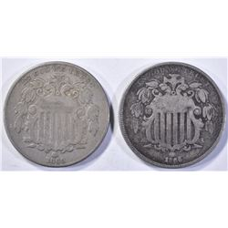 (2) SHIELD NICKELS  1866 WITH RAYS  F/VF &